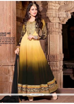 Fabulose Mustard And Black Georgette Anarkali Suit