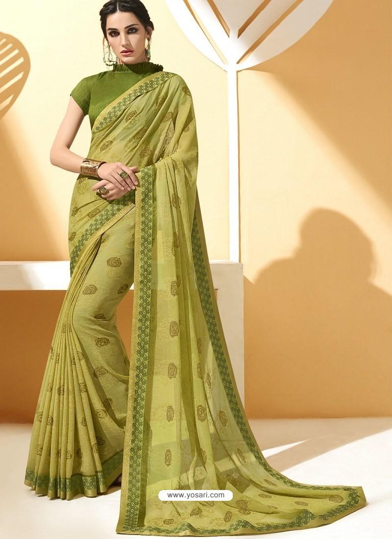 233137261a Buy Green Chiffon Brasso Printed Saree | Casual Sarees