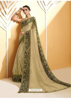 Khaki Chiffon Brasso Printed Saree