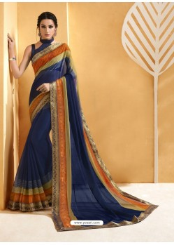 Navy Blue Chiffon Brasso Printed Saree