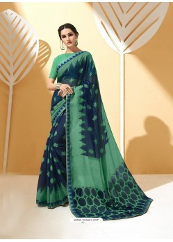 Navy Blue and Green Chiffon Brasso Printed Saree