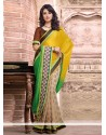 Asthetic Yellow And Cream Viscose Party Wear Saree