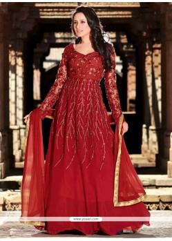 Lovely Maroon Resham Work Anarkali Suit