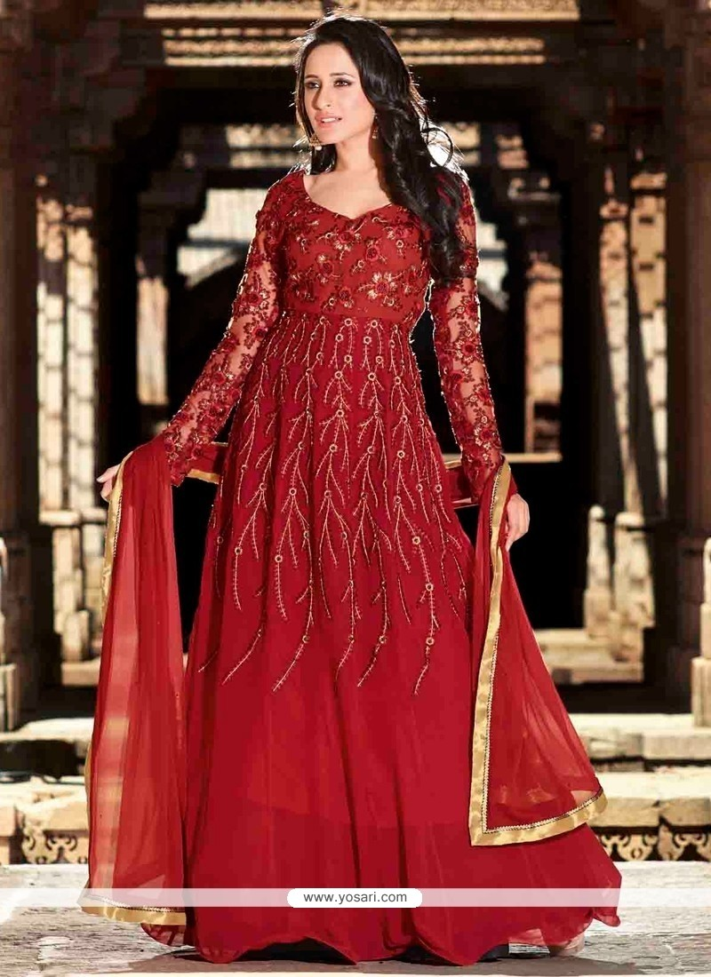 Lovely Maroon Resham Work Anarkali Suit