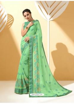 Jade Green Chiffon Brasso Printed Saree