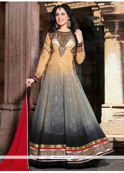 Grey And Cream Georgette Anarkali Salwar Suit