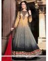 Grey And Cream Georgette Anarkali Salwar Suit