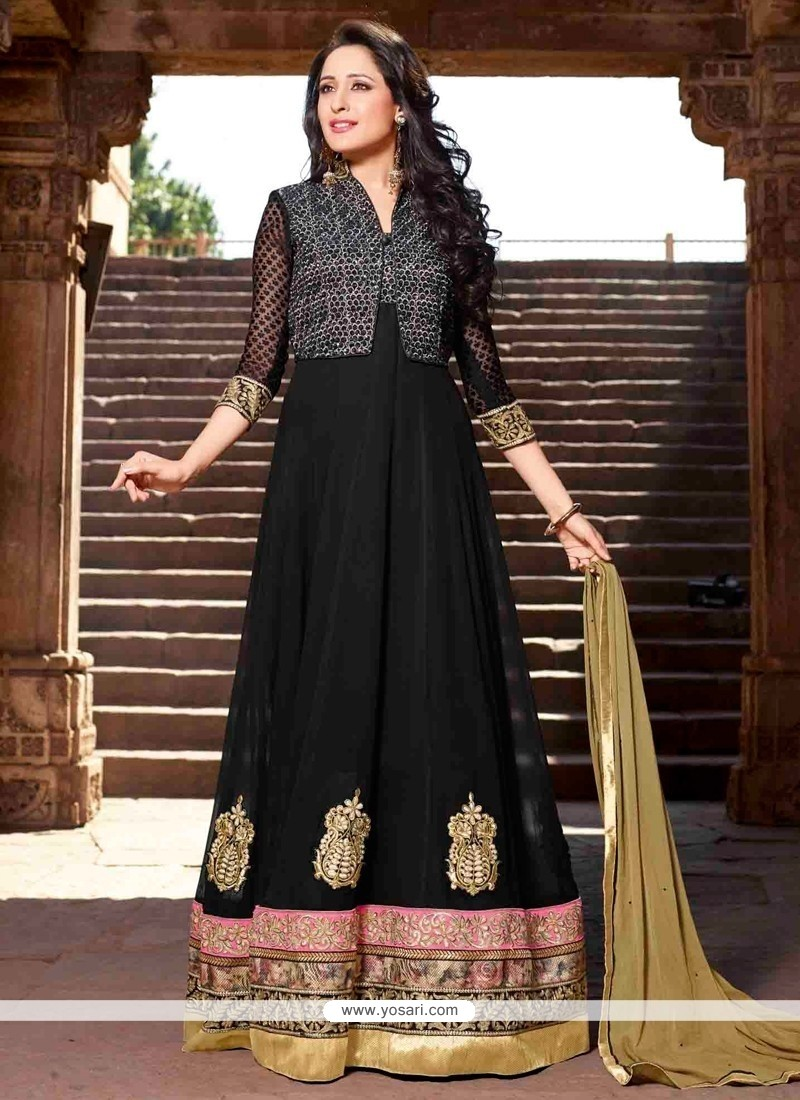 Latest Black Brasso Georgette Anarkali Suit