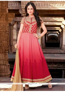 Exquisite Pink Shaded Georgette Anarkali Suit