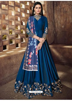 Peacock Blue Silk Embroidered Designer Floor Length Suit