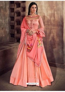 Light Orange Silk Embroidered Designer Floor Length Suit