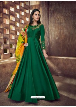 Dark Green Silk Embroidered Designer Floor Length Suit