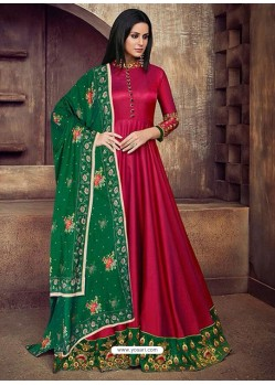 Wine Silk Embroidered Designer Floor Length Suit