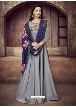 Grey Silk Embroidered Designer Floor Length Suit