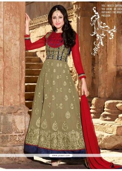 Stunning Brown Shaded Georgette Designer Anarkali Suit