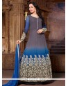 Pretty Grey And Blue Georgette Anarkali Suit