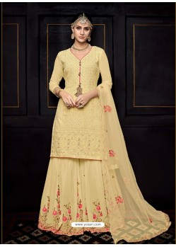 Cream Pure viscose Uppada Silk Heavy Embroidered Palazzo Suit