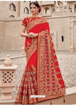 Red Two Tone Silk Satin Heavy Embroidered Bridal Saree