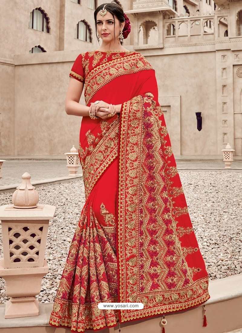 bb4e784a5331 Buy Red Two Tone Silk Satin Heavy Embroidered Bridal Saree | Bridal ...