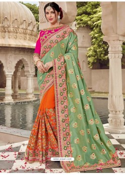 Green And Orange Two Tone Silk Jacquard Heavy Embroidered Bridal Saree