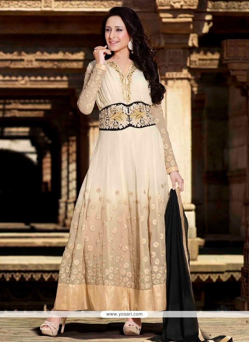 Jaaz Cream Georgette Designer Anarkali Suit