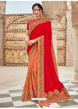 Red And Orange Two Tone Satin Silk Heavy Embroidered Bridal Saree