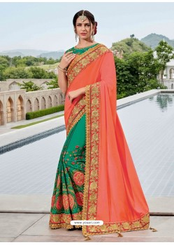 Orange And Teal Two Tone Silk Satin Heavy Embroidered Bridal Saree