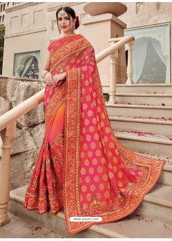Fuchsia And Orange Two Tone Jacquard Heavy Embroidered Bridal Saree
