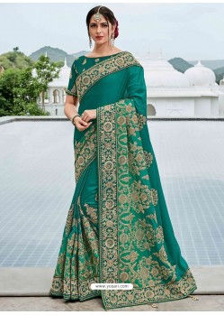 Teal Two Tone Shaded Silk Satin Heavy Embroidered Bridal Saree