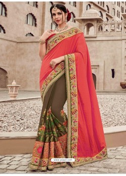 Dark Peach And Brown Two Tone Silk Satin Heavy Embroidered Bridal Saree