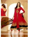 Beautiful Red Georgette Zari Work Anarkali Suit
