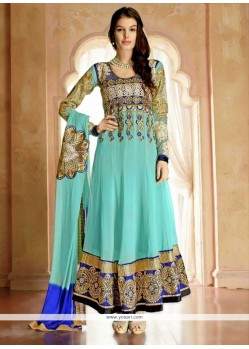 Exquisite Turquoise Blue Georgette Anarkali Suit