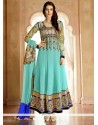 Exquisite Turquoise Blue Georgette Anarkali Suit