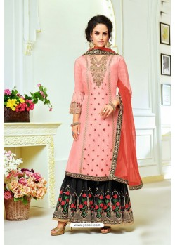 Pink And Black Upada Silk Embroidered Palazzo Suit