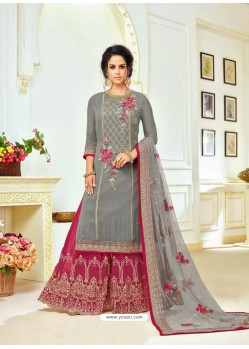 Grey Upada Silk Embroidered Palazzo Suit