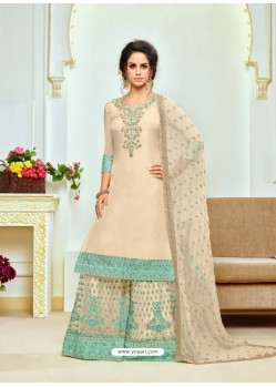 Cream Upada Silk Embroidered Palazzo Suit