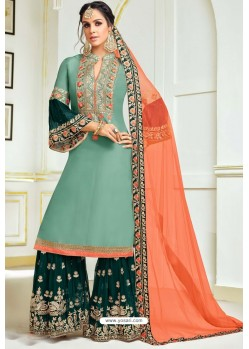 Green Upada Silk Embroidered Palazzo Suit