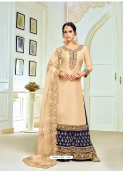 Beige And Navy Upada Silk Embroidered Palazzo Suit