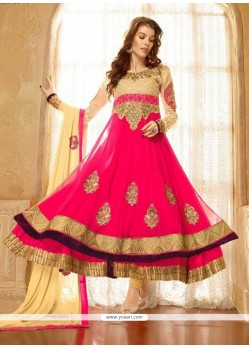 Lovely Pink Georgette Anarkali Salwar Suit
