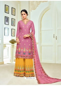 Hotpink And Mustard Upada Silk Embroidered Palazzo Suit