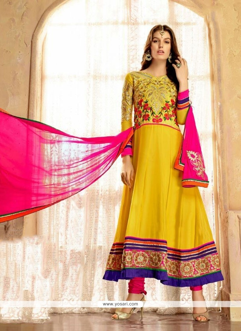 Latest Yellow Embroidery Work Anarkali Suit