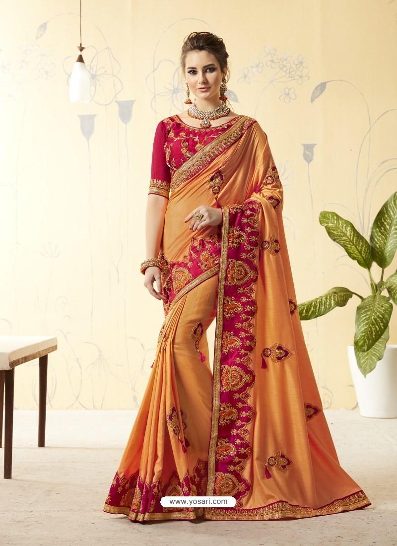 69da13ebb46 Buy Light Orange Silk Stone Embroidered Party Wear Saree