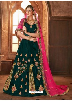 Dark Green Satin Silk Embroidered Lehenga Choli