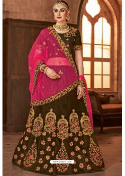 Brown Satin Silk Embroidered Lehenga Choli