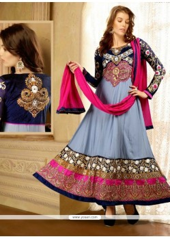 Embellished Grey Georgette Designer Anarkali Suit