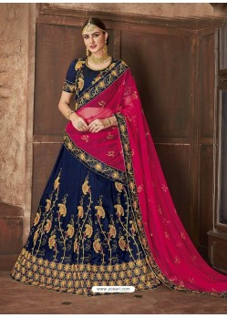 Navy Blue Satin Silk Embroidered Lehenga Choli