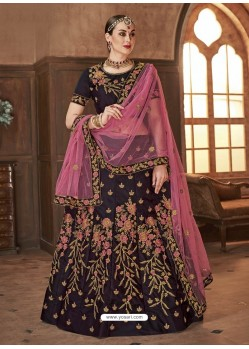 Coffee Satin Silk Embroidered Lehenga Choli