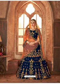 Peacock Blue Satin Silk Embroidered Lehenga Choli