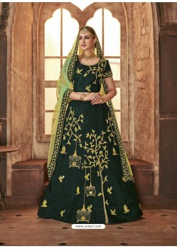 Gorgeous Dark Green Satin Silk Embroidered Lehenga Choli
