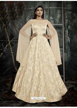 Cream Jacquard Designer Readymade Gown